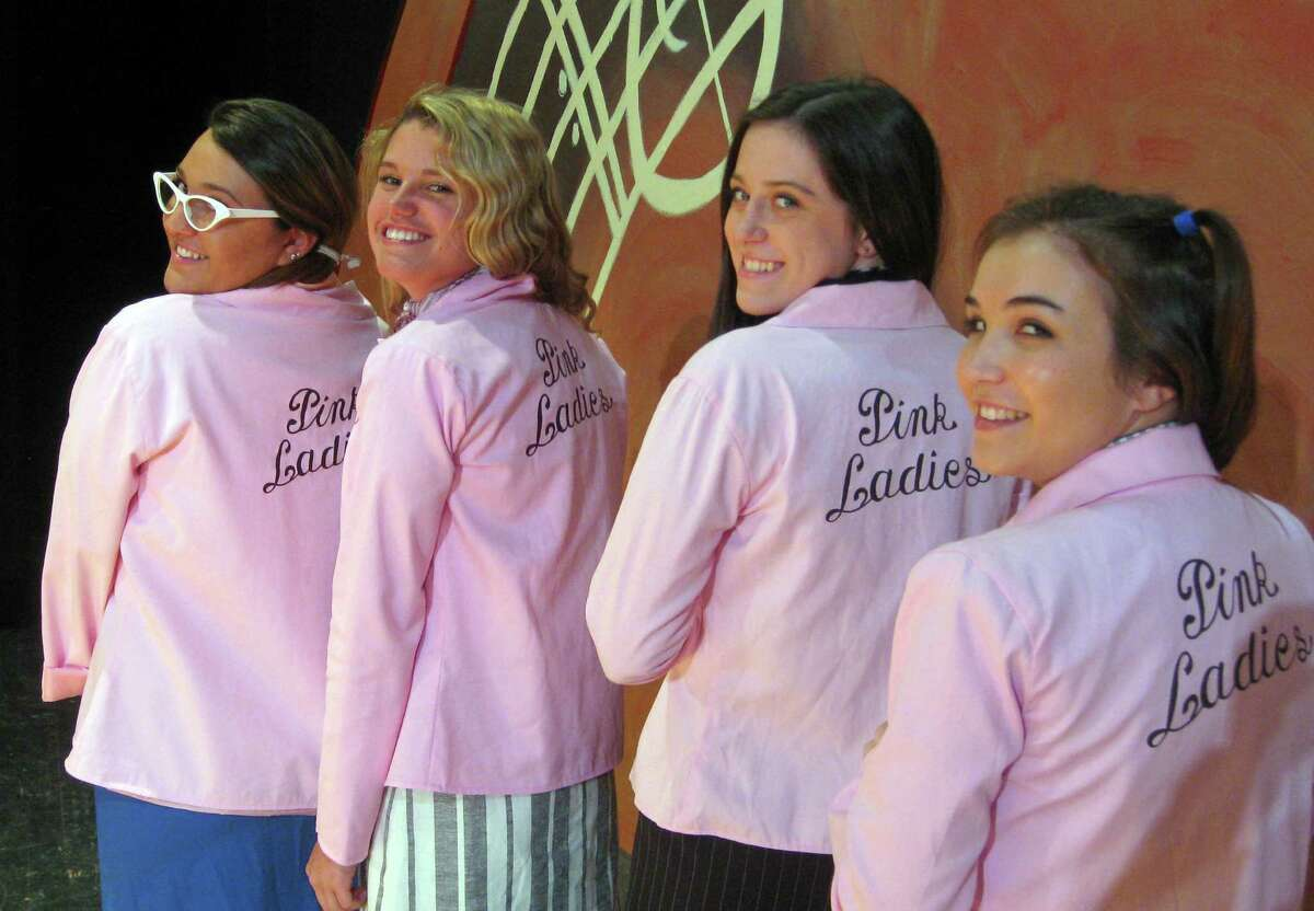 """The members of the Pink Ladies get ready for the Fairfield Ludlowe High School Drama Club's production of """"Grease."""""""