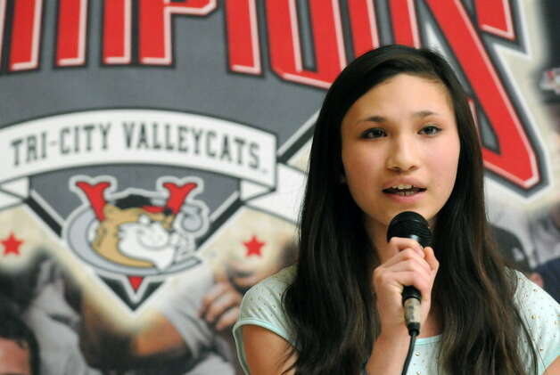 Fourteen-year-old Annie Scherer of Voorheesville sings the, National Anthem, as the Tri-City ValleyCats held tryouts for prospective singers for the upcoming season at Crossgates Mall on Saturday April 5, 2014 in Guilderland N.Y. (Michael P. Farrell/Times Union archive)