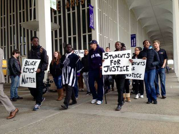 University at Albany students and elected officials march for the concerning event of Donald Ivy's death on April 9, 2015, at UAlbany. (Lori Van Buren/Times Union)