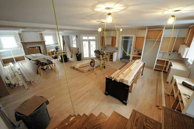 A view of the open lay out in a home under construction in the Oak Ridge subdivision on Monday, April 6, 2015 in Saratoga Springs, N.Y. The homes are built by J. Snyder Builders.  (Lori Van Buren / Times Union) Photo: Lori Van Buren / 00031290A