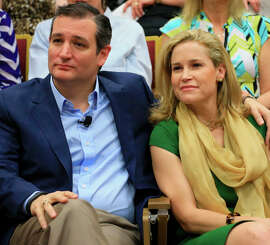 Presidential candidate Sen. Ted Cruz, R-Texas, sits with his wife, Heidi, at Morningside College in Sioux City, Iowa.