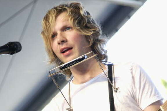 Beck performs at the Coachella Music and Arts Festival on May 1, 2004 at the Empire Polo Grounds, in Indio, California. (Photo by Tim Mosenfelder/Getty Images)