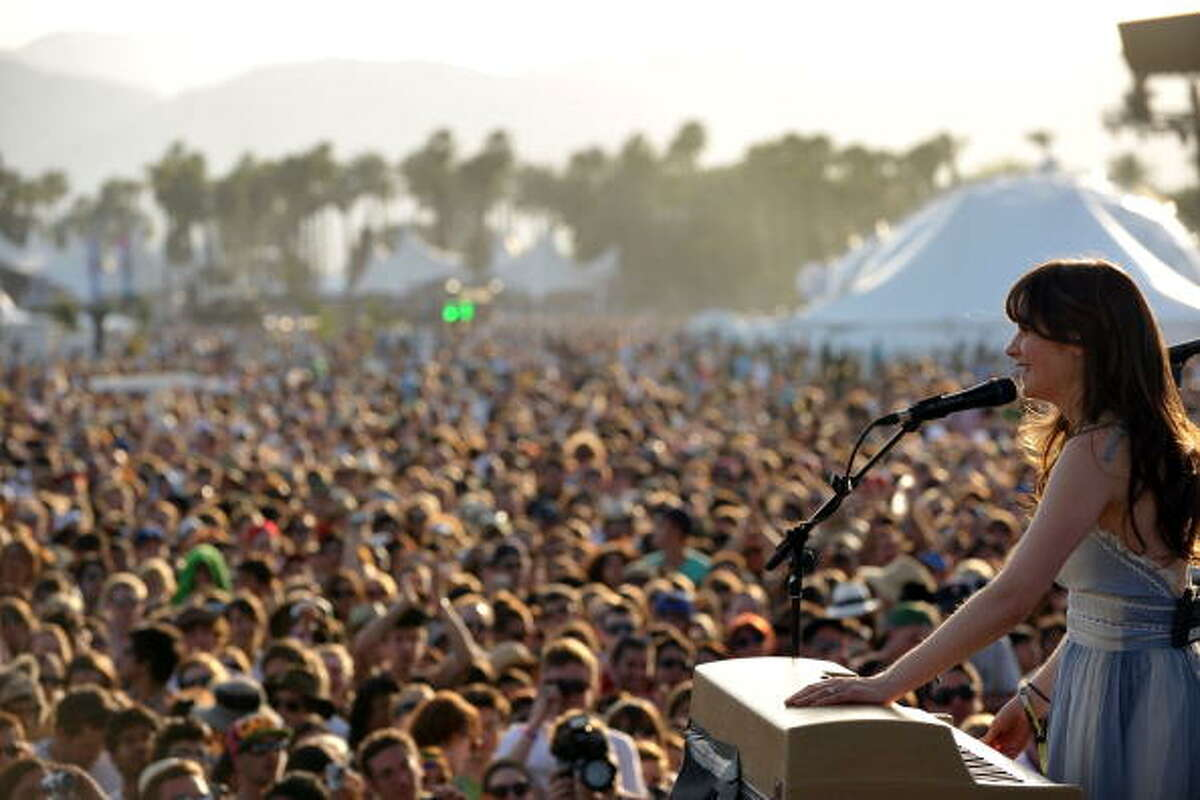 Singer Zooey Deschanel of She & Him performs during Day 1 of the Coachella Valley Music & Art Festival 2010 held at the Empire Polo Club on April 16, 2010 in Indio, California.