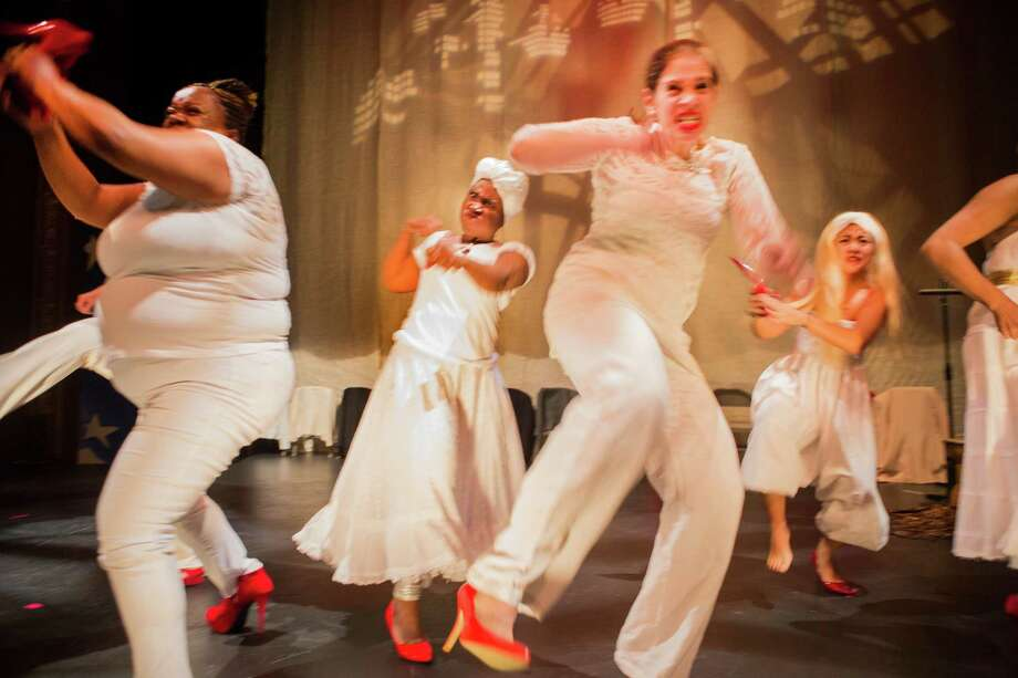 """Angry Women in White   From left to right   Felicia Scaggs, Suze Azor, Lisa Frias, Samantha Dizon in The Medea Project's latest show """"Birthright"""" Photo: David Wilson / ONLINE_YES"""