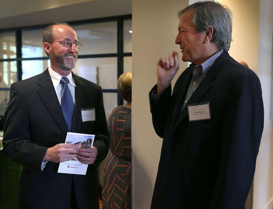 Orinda mayor Steve Glazer (left) meets with Rep. Mark DeSaulnier at a grand opening ceremony for an affordable senior apartment complex in Orinda, Calif. on Thursday, April 9, 2015. Glazer is facing a runoff election in May against Assemblywoman Susan Bonilla, who is endorsed by DeSaulnier, for the 7th District Senate seat which opened up when DeSaulnier was elected to the U.S. Congress. Photo: Paul Chinn, The Chronicle
