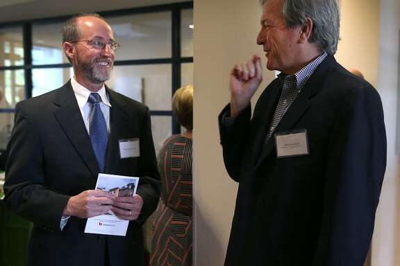 Orinda mayor Steve Glazer (left) meets with Rep. Mark DeSaulnier at a grand opening ceremony for an affordable senior apartment complex in Orinda, Calif. on Thursday, April 9, 2015. Glazer is facing a runoff election in May against Assemblywoman Susan Bonilla, who is endorsed by DeSaulnier, for the 7th District Senate seat which opened up when DeSaulnier was elected to the U.S. Congress.