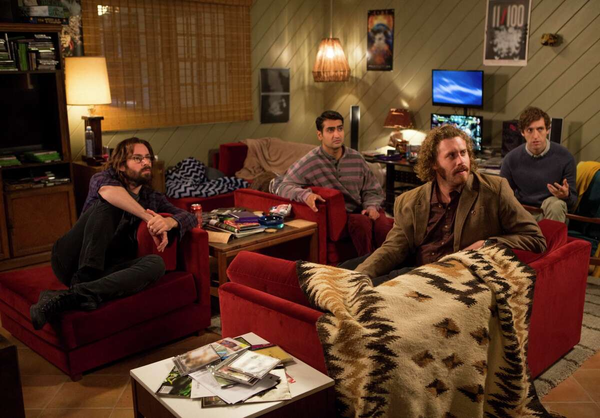 """Martin Starr (left), Kumail Nanjiani, T.J. Miller and Thomas Middleditch in a scene from season 2 of """"Silicon Valley,"""" which premieres Sunday on HBO."""