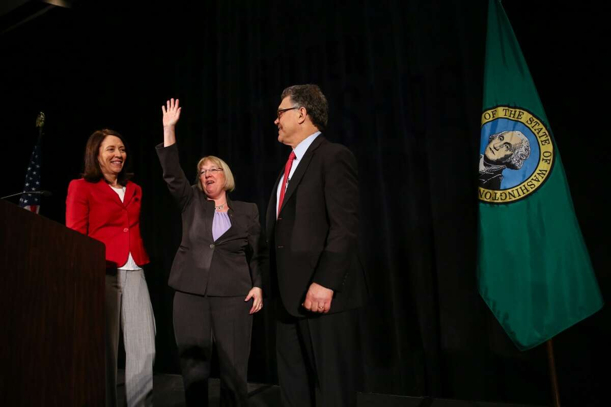 Senator Maria Cantwell, Senator Patty Murray and then-Senator Al Franken take the stage during Murray's 2015 Golden Tennis Shoe Awards Luncheon at the Westin in Seattle. Democratic women, including Murray and Cantwell, would later help force Franken's resignation from the Senate after he faced sexual harassment charges. (Joshua Trujillo, seattlepi.com)