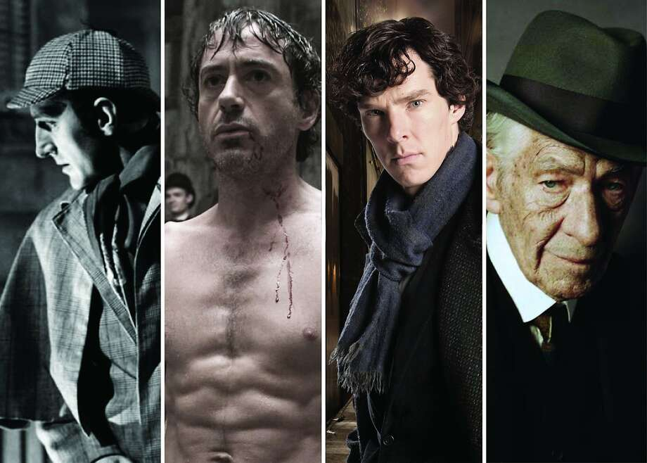 """Sir Arthur Conan Doyle's detective has been a screen fixture for decades - with varying results. Pictured: Basil Rathbone, """"The Hound of the Baskervilles"""" (photo courtesy of Twentieth Century Fox); Robert Downey, Jr., """"Sherlock Holmes"""" (Warner Bros); Benedict Cumberbatch, """"Sherlock"""" (BBC); Sir Ian McKellen, """"Mr. Holmes"""" (Roadside Attractions). Photo: Photo Illus By Michael Ordona"""
