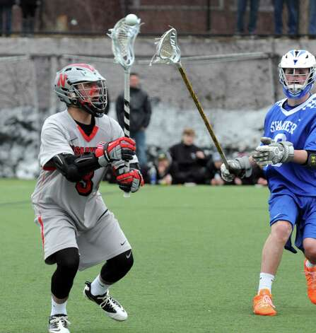 Niskayuna's Evan Maloney passes the ball during their boys' high school lacrosse game against Shaker at Union College on Thursday April 9, 2015 in Schenectady, N.Y. (Michael P. Farrell/Times Union) Photo: Michael P. Farrell / 00031350A