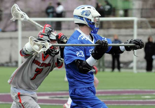 Shakers Matt Whitcomb brings the ball down the field during their boys' high school lacrosse game against Niskayuna  at Union College on Thursday April 9, 2015 in Schenectady, N.Y. (Michael P. Farrell/Times Union) Photo: Michael P. Farrell / 00031350A