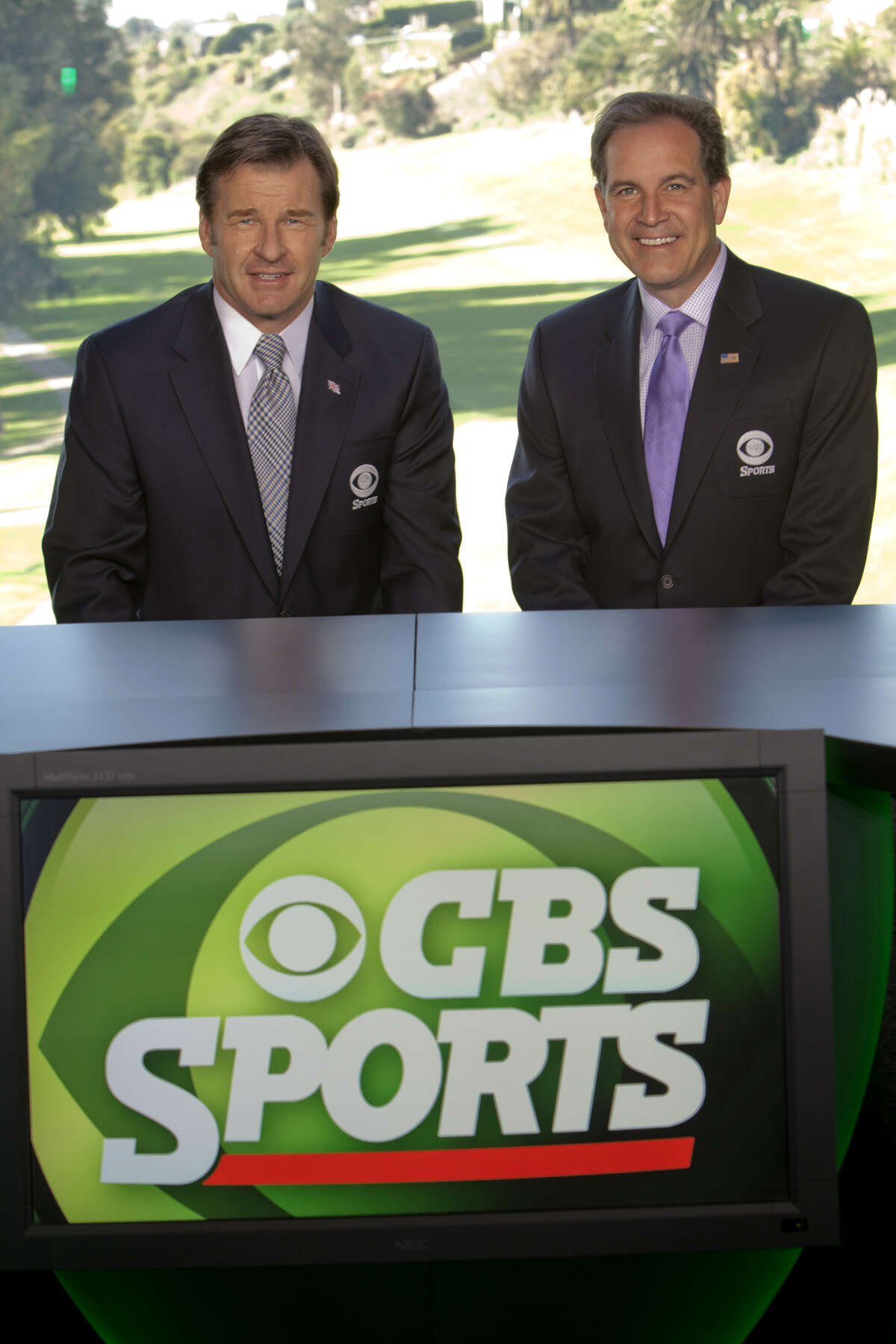 Jim Nantz and Nick Faldo, partners in the 18th tower at Augusta National for the Masters. (Monty Brinton / CBS)