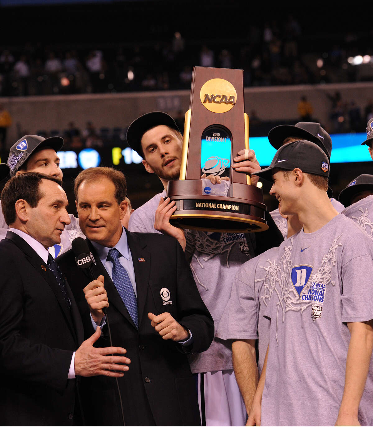 Jim Nantz interviews Duke coach Mike Krzyzewski after their title in 2010. Nantz goes right from the Final Four to covering the Masters. (Jeffrey R. Staab / CBS)