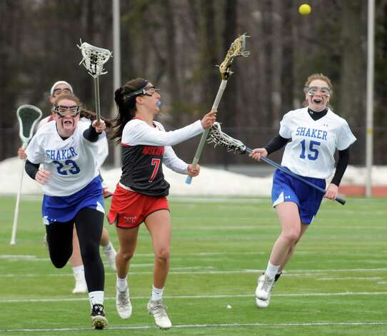 Niskayuna's Marisa DiVietro passes the ball during their girls' high school lacrosse game against Shaker at Shenendehowa High School on Thursday April 9, 2015 in Clifton Park , N.Y. (Michael P. Farrell/Times Union) Photo: Michael P. Farrell / 00031366A