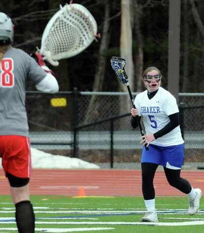 Shaker attack Kailyn Hart looks to pass during their girls' high school lacrosse game against Niskayuna at Shenendehowa High School on Thursday April 9, 2015 in Clifton Park , N.Y. (Michael P. Farrell/Times Union) Photo: Michael P. Farrell / 00031366A