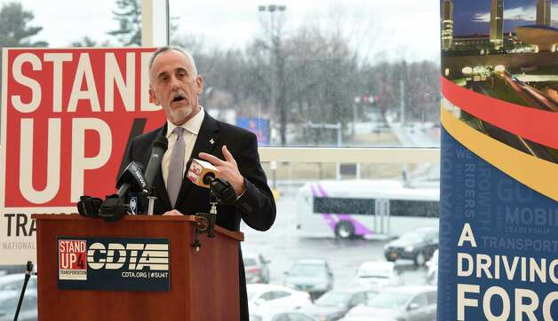 Capital District Transportation Authority president Carmen Basile calls on Congress to support of local transportation Thursday morning, April 9, 2015, at Crossgates Mall in Albany, N.Y.    (Skip Dickstein/Times Union) Photo: SKIP DICKSTEIN / 00031365A