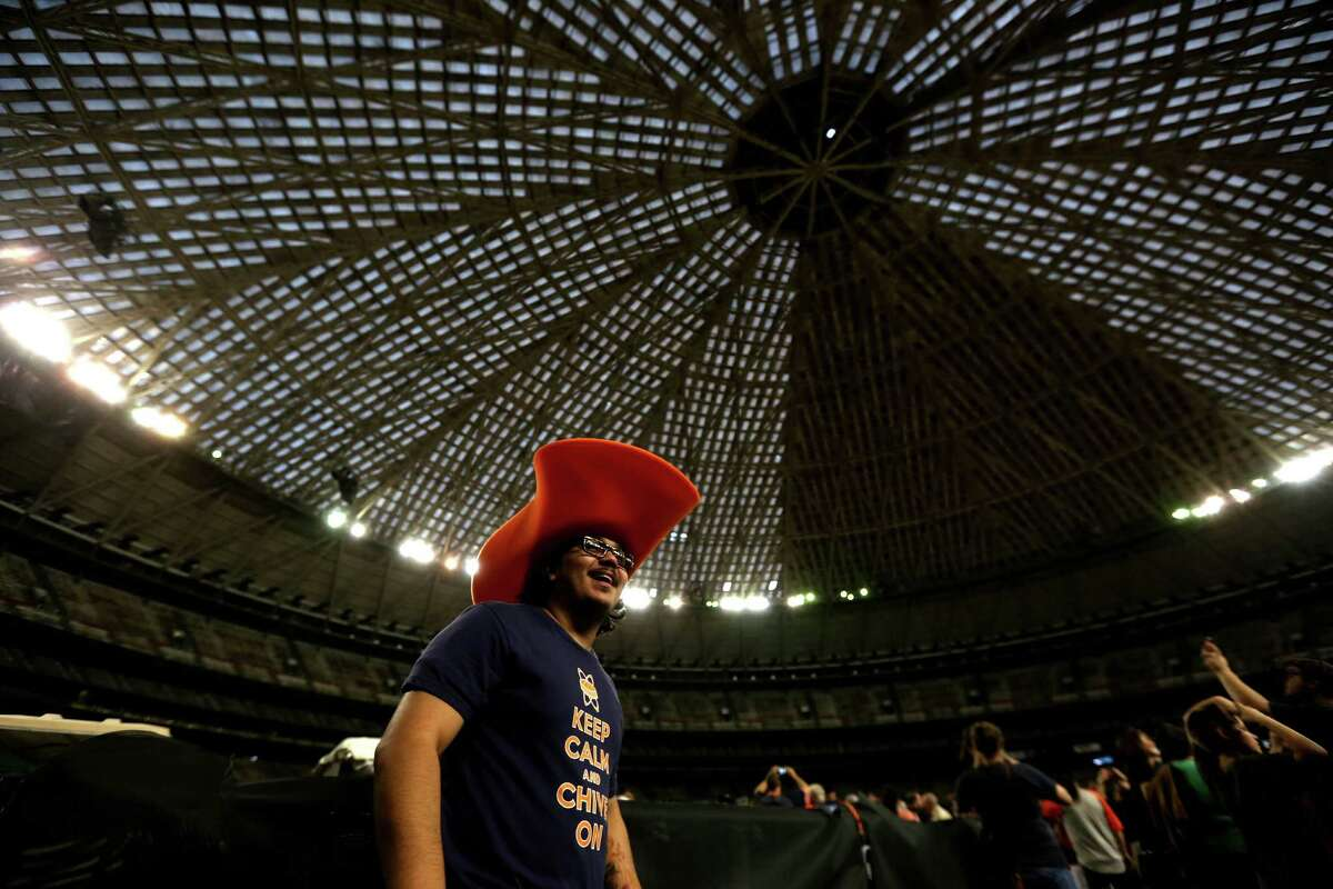 Jorge Suarez, of Houston, at the 50th anniversary of the opening of the Harris County Domed Stadium, better known as the Astrodome, during a free, fun birthday festivities Thursday, April 9, 2015, in Houston, Texas.