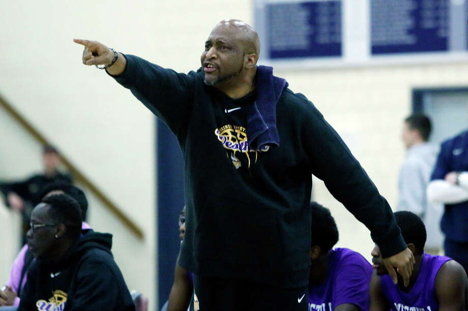 Westhill head coach Howard White shouts orders to his team during their basketball game against Wilton at Wilton High School in Wilton, Conn., on Thursday, Jan. 22, 2015. Westhill won, 72-67. Photo: Jason Rearick / Stamford Advocate