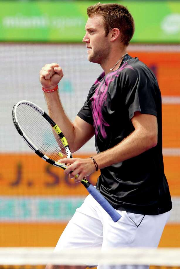 KEY BISCAYNE, FL - MARCH 28:  Jack Sock celebrates match point against Fabio Fognini of Italy during day 5 of the Miami Open Presented by Itau at Crandon Park Tennis Center on March 27, 2015 in Key Biscayne, Florida.  (Photo by Matthew Stockman/Getty Images) Photo: Matthew Stockman, Staff / 2015 Getty Images