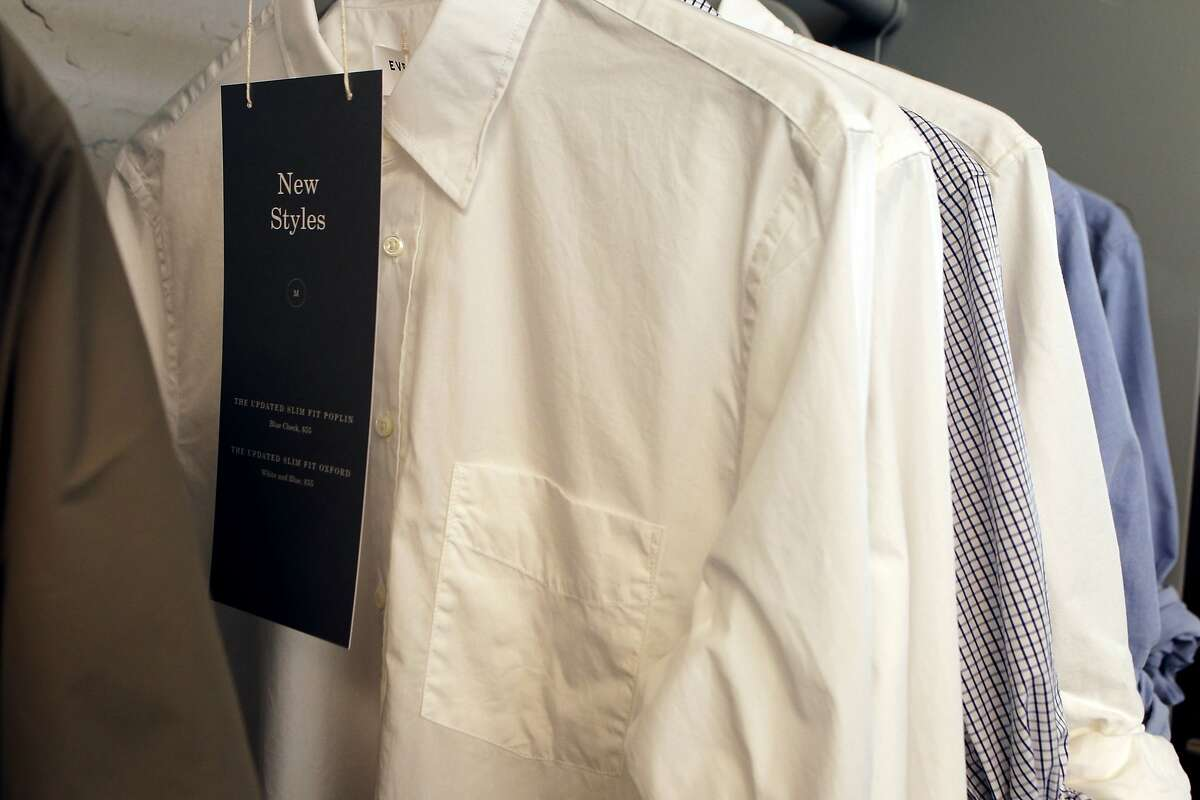 New button down men's shirts at Everlane's office in San Francisco, Calif., Thursday April 9, 2015.