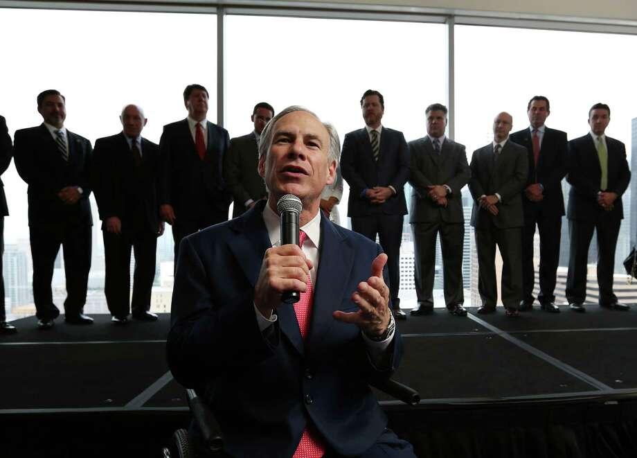 Gov. Gregg Abbott speaks at a VIP reception at the annual Houston Hispanic Chamber of Commerce Business Expo and Luncheon Thursday, April 9, 2015, in Houston. Photo: Jon Shapley, Houston Chronicle / © 2015 Houston Chronicle