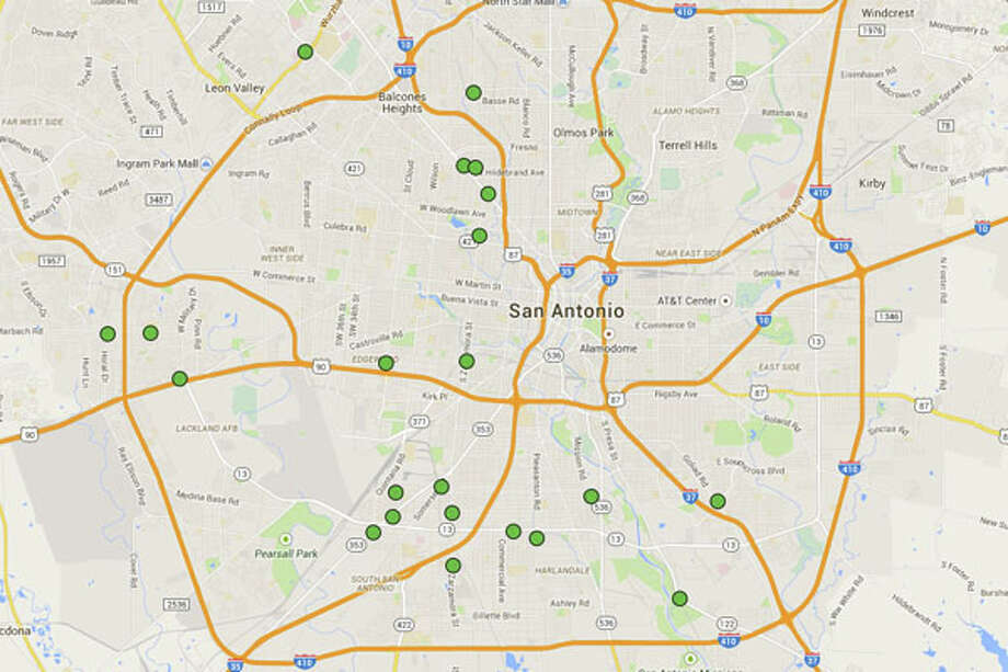 Click through to see the 22 San Antonio restaurants cited with 14 or more demerits in the most recent health inspection reports. Photo: Chris Eudaily Created Using Google Maps