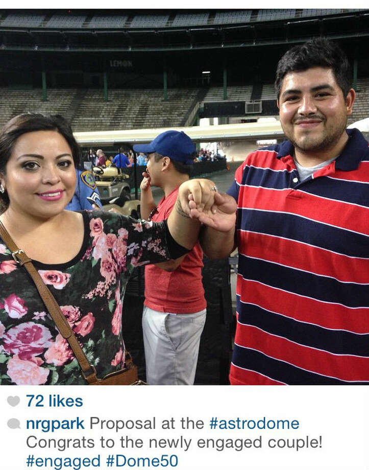 As thousands of Astrodome fans filed inside the stadium on Thursday night to marvel at the inside of the Eighth Wonder for the first time in years, one man decided to pop the question to his girlfriend. (Photo: NRG Park Instagram)
