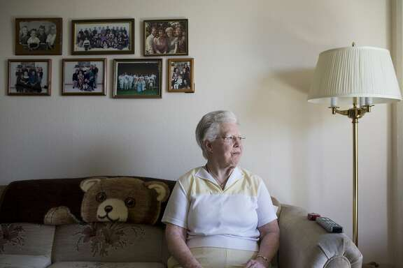 Phyllis Olson sits in her apartment in Hayward, Calif. on Thursday, April 9, 2015. During last big drought in 1977, Olson was punished for her excessive garden watering by EBMUD with the installation of a flow restrictor.