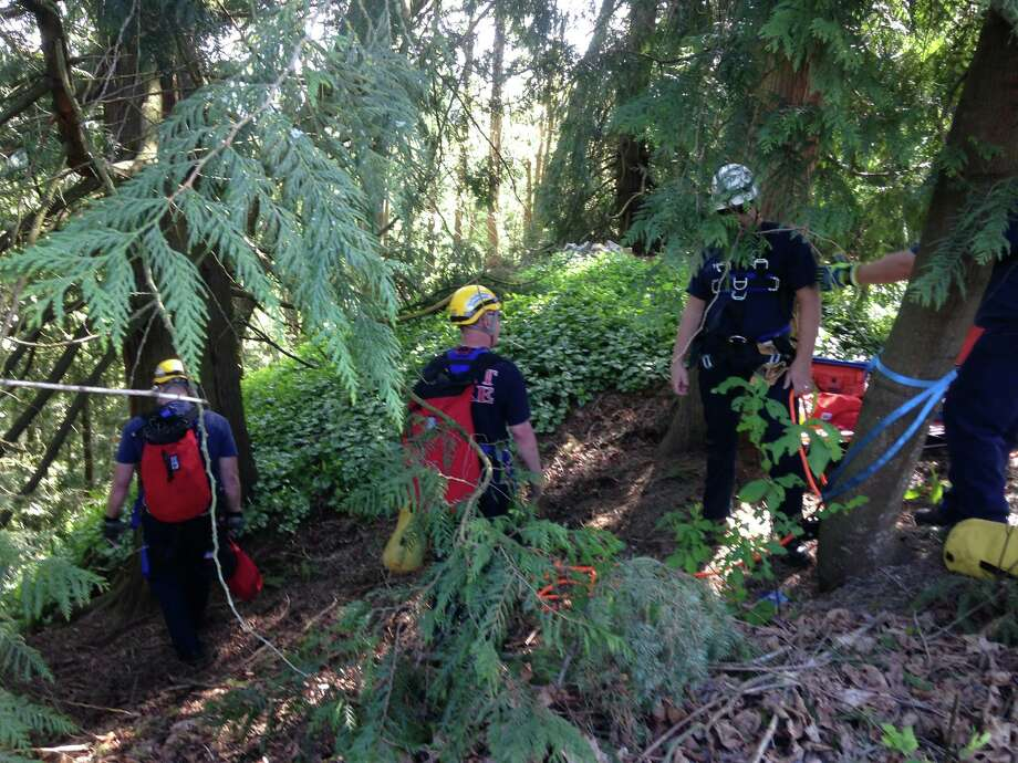Crews from several South King County fire departments rescued a 70-year-old woman after she fell down a hillside in Auburn Thursday afternoon. Photo: Valley Regional Fire Authority