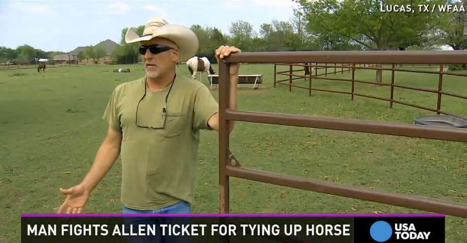 Rick Braun was issued a $266 citation by Allen (Texas) police for riding his horse to an area Taco Bell. Photo: WFAA   USA Today Video