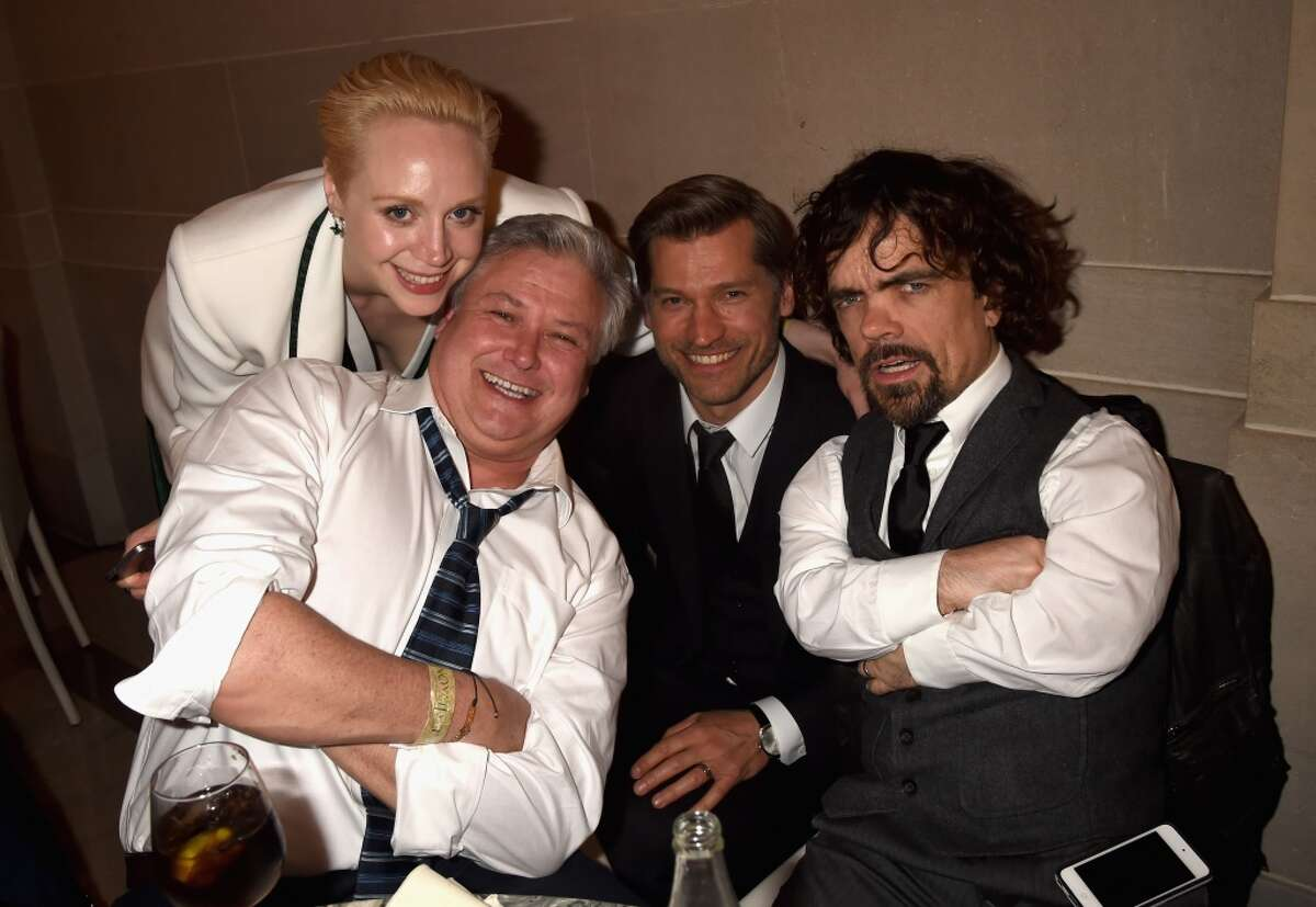 """Actors Gwendoline Christie, Conleth Hill, Nikolaj Coster-Waldau and Peter Dinklage attend HBO's """"Game of Thrones"""" Season 5 Premiere and After Party at the San Francisco Opera House on March 23, 2015 in San Francisco, California."""
