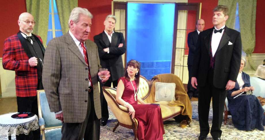 """A scene from the Westport Community Theatre production of Agatha Christie's """"And Then There Were None,"""" with Nick Kaye, Frederick Tisch, Phil Lorenzo, Kimberly Lowden, Jonathan Jacobson, Matt Catalano and Carole Kaye. Photo: Contributed Photo / Westport News"""