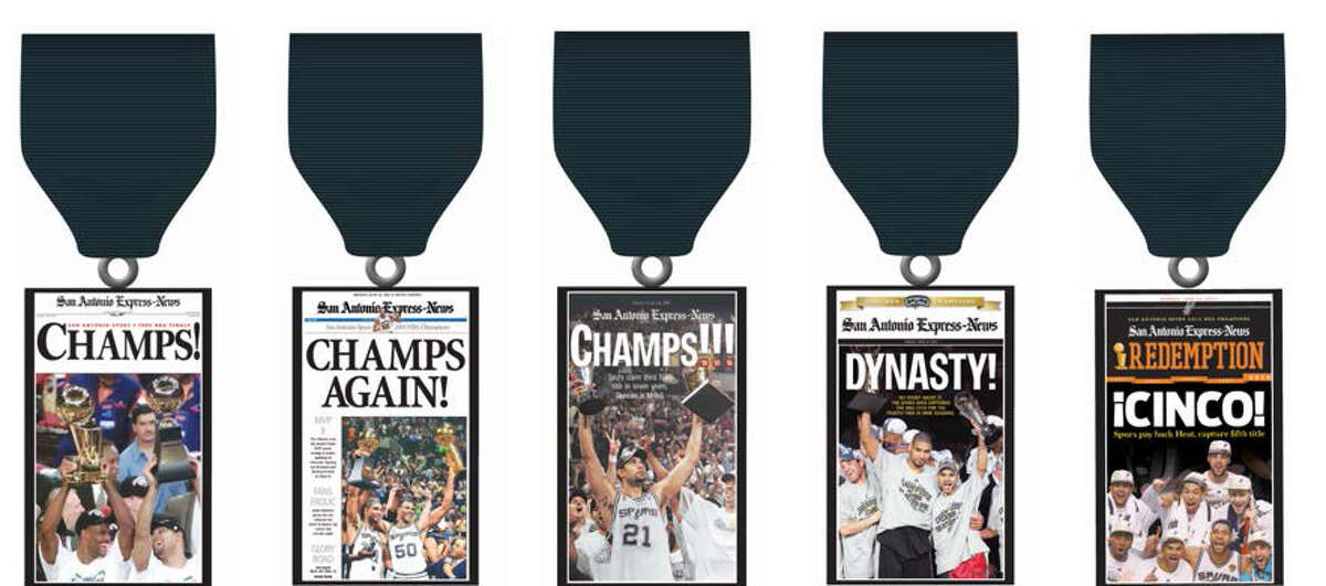 Spurs fever and Fiesta medal mania combine when San Antonio Express-News Commemorative Front Page Spurs Championship Medals go on sale Sunday at participating H-E-B stores.