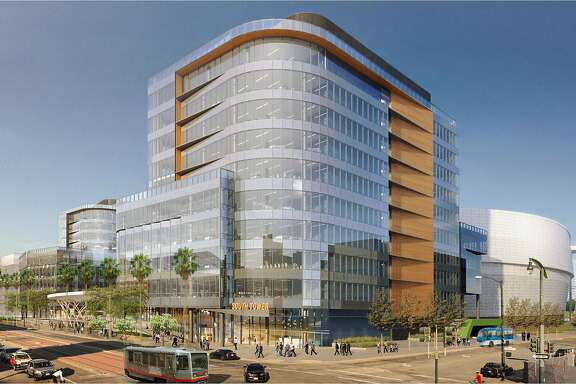 "An artist's rendering of the Golden State Warriors Event Center and mixed-use development, viewed at the corner of 3rd and 16th Street in San Francisco, California. IMAGE CREDIT (easiest): ""Image courtesy of the Golden State Warriors."" IMAGE CREDIT (most accurate):  ""Image courtesy of Pfau Long Architecture, AE3 Partners and MANICA Architecture."""