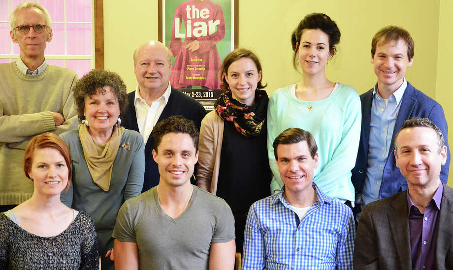"""The Liar"" kicks off the Westport Country Playhouse's 85th season. Figuring in the production are, standing from left, playwright David Ives, director Penny Metropulos, cast members Brian Reddy, Rebekah Brockman, Monique Barbee and Rusty Ross; seated, Kate MacCluggage, Philippe Bowgen, Aaron Krohn and Jay Russell. Photo: Contributed Photo / Westport News"