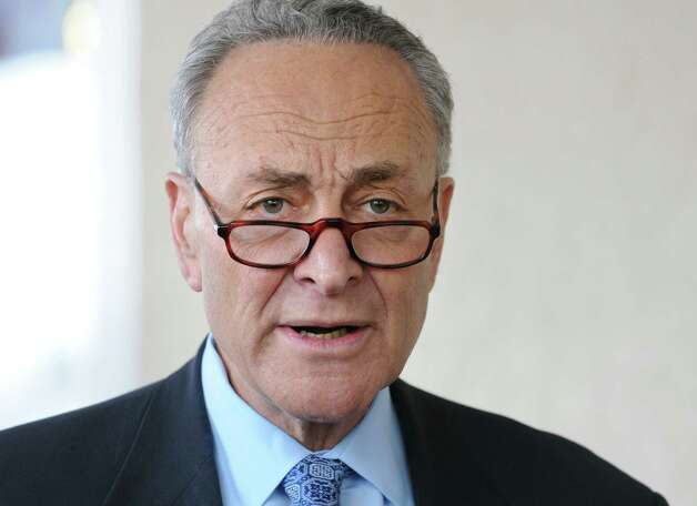 U.S. Senator Charles Schumer urges the Federal Emergency Management Agency (FEMA) to examine the outdated flood maps that have incorrectly placed the Johnstown Shopping Center, as well as up to 50 other properties in the surrounding area, in the Cayudutta Creek's flood zone  on Friday, April 10, 2015 in Johnstown, N.Y. (Lori Van Buren / Times Union) Photo: Lori Van Buren / 00031385A