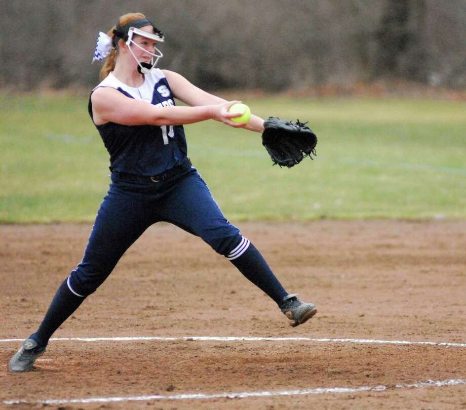 Staples sophomore pitcher Gillian Birk fires a pitching during a game against Nonnewaug on Friday afternoon. Birk threw a complete game and allowed just one run as the Wreckers won 11-1. Photo: Ryan Lacey/Staff Photo / Westport News Contributed