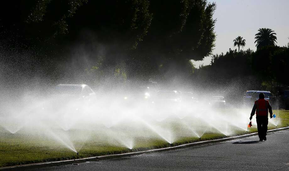 Javier Mora, checks the operation of sprinklers as they spray water onto the median strip along Sunset Blvd. in the Southern California City of Beverly Hills, as seen on Thurs. April 9, 2015.  The City of Beverly Hills, Ca., one the the largest users of water in California may be required to cut their water consumption by 35 percent during this the fourth year of drought in the State of California. Photo: Michael Macor, The Chronicle
