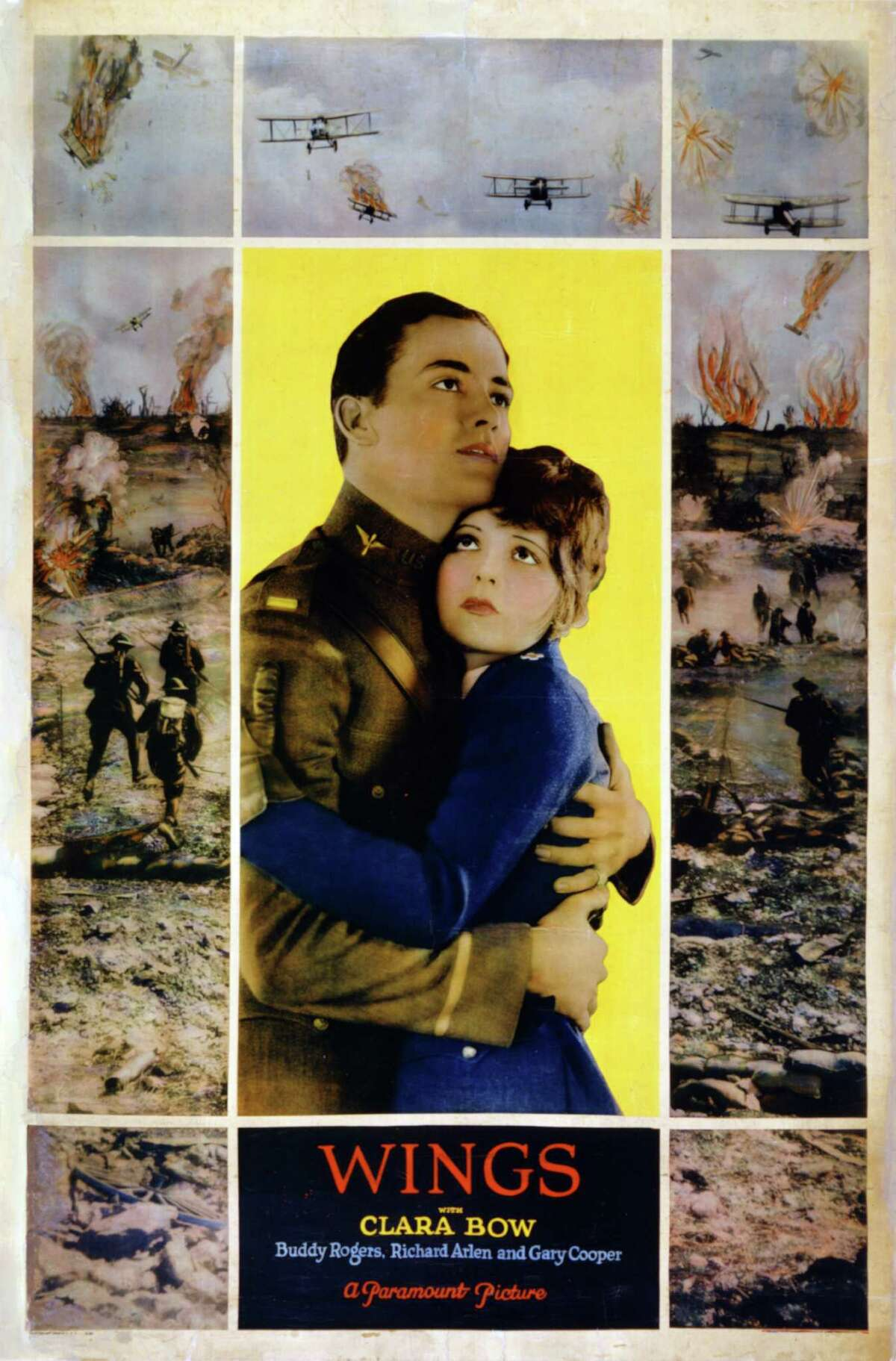 """In this 1927 image released by AMPAS, a movie poster from the silent film """"Wings,"""" the first Best Picture winner at the Academy Awards, is shown. A screening of the film on Tuesday, Jan. 17, 2012, kicked off the 100th anniversary of film distributor Paramount Pictures."""
