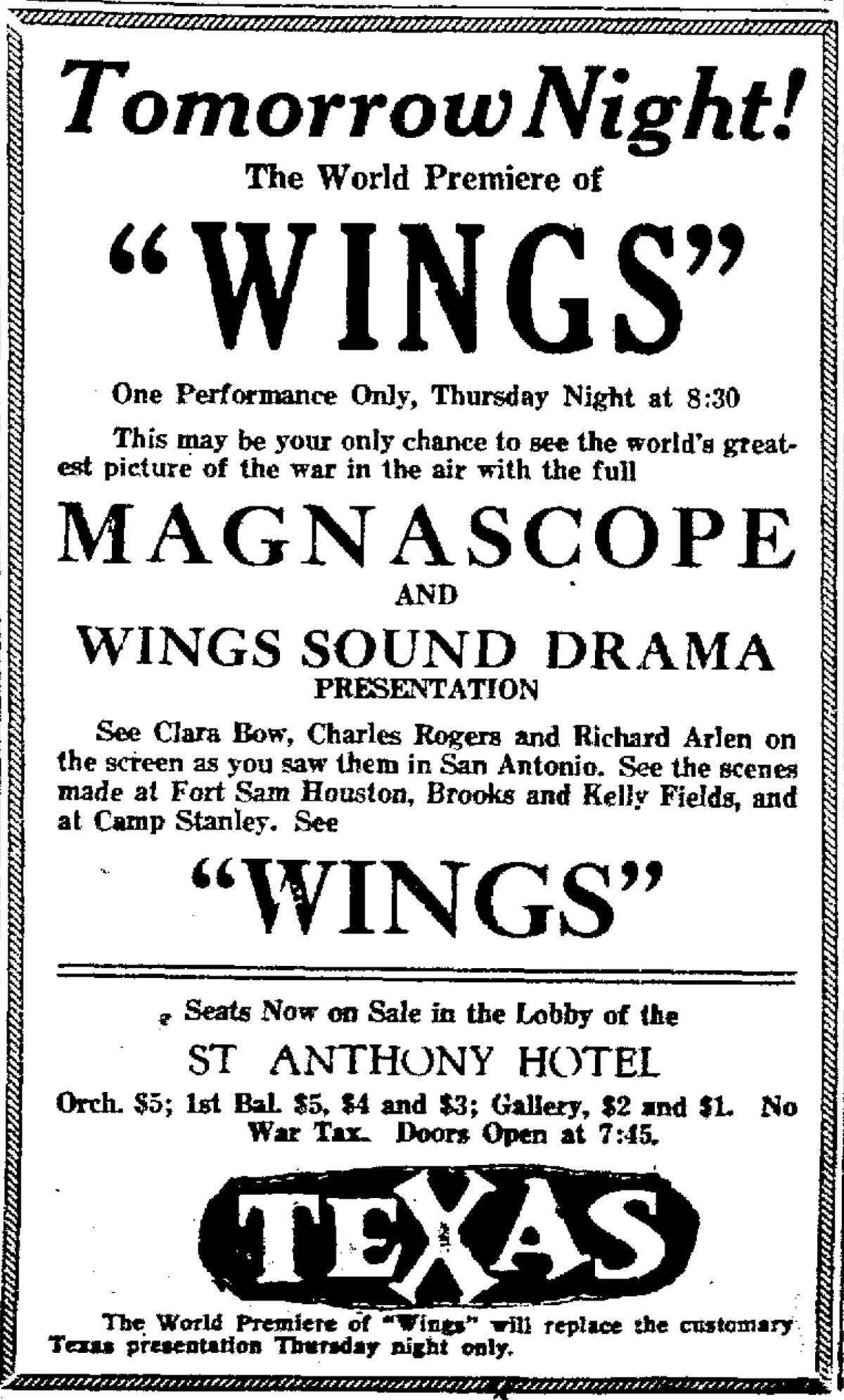 """This ad for the world premiere of the movie """"Wings"""" appeared in the San Antonio Express on May 18, 1927."""