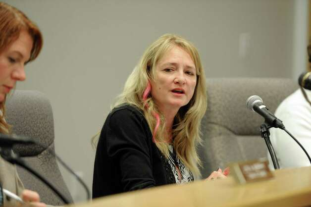 Town of Halfmoon Supervisor Mindy Wormuth during a Town Board meeting in October 2013. Wormuth is seeking to have statements she made to the FBI thrown out as evidence in her federal bribery and extortion case. (Michael P. Farrell/Times Union) Photo: Michael P. Farrell / 00024084A