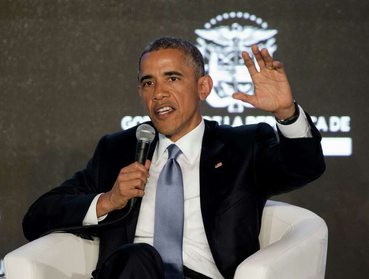 President Barack Obama speaks during the CEO Summit of the Americas panel discussion in Panama City, Panama, Friday, April 10, 2015. Obama is in Panama to attend the VII Summit of the Americas. (AP Photo/Pablo Martinez Monsivais)