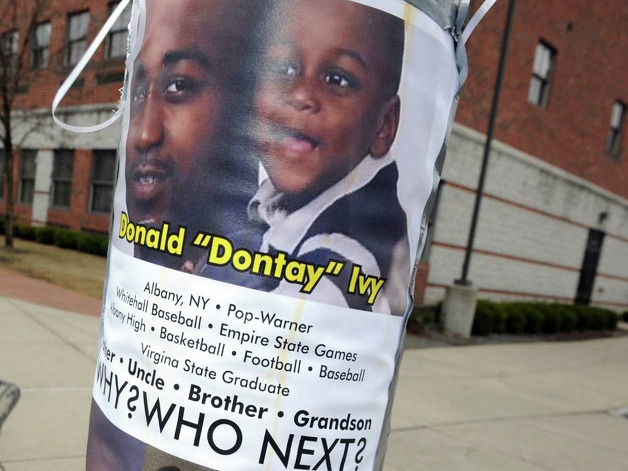 "A memorial for Donald ""Dontay"" Ivy, the 39-year-old Arbor Hill man who died April 2 following a Taser-related police confrontationon, at Lark and Second Streets on Friday April 10, 2015 in Albany , N.Y. (Michael P. Farrell/Times Union) Photo: Michael P. Farrell / 00031396A"