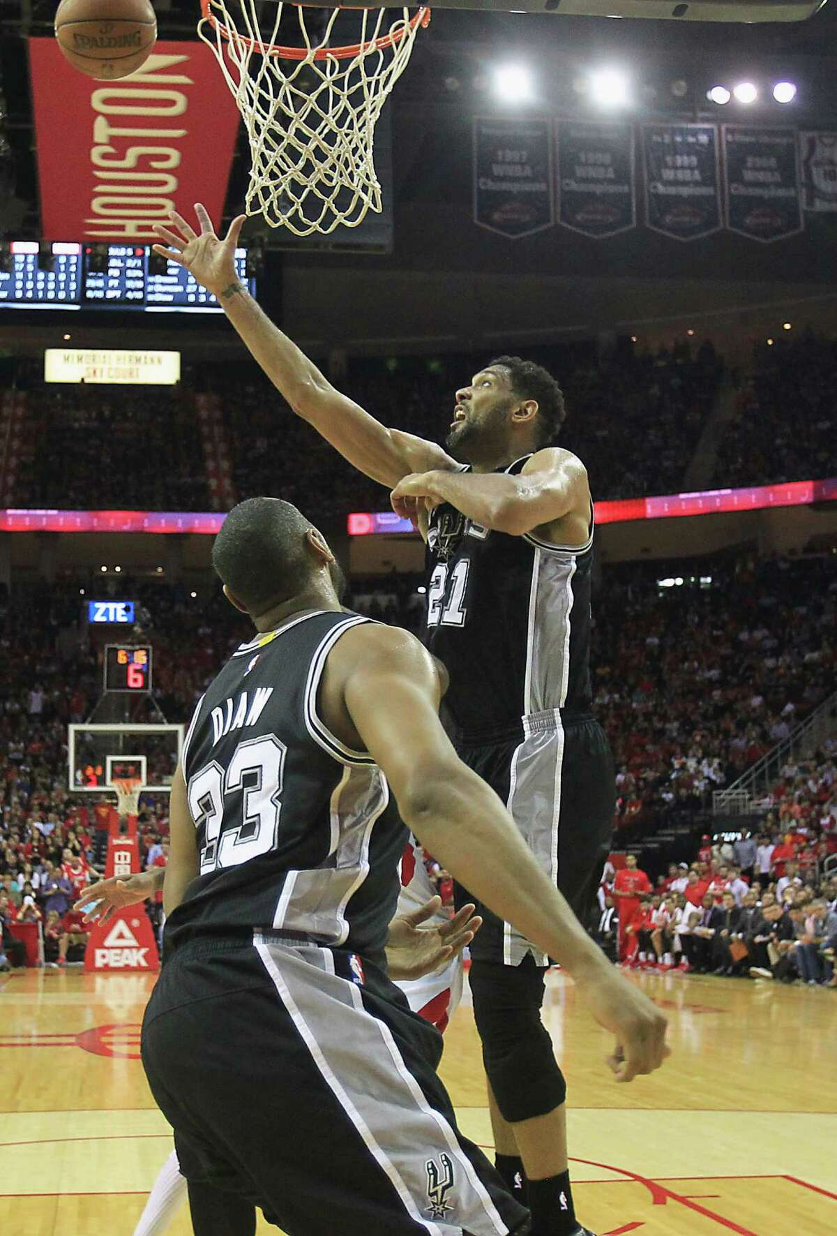 Spurs longtime star Tim Duncan, right, again came up big Friday night at Toyota Center, scoring 29 points to go with 10 rebounds and three blocks.