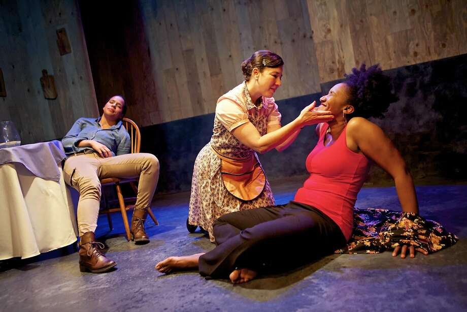 """Lauren Spencer (left), Michele Leavy and Safiya Fredericks are featured in Crowded Fire Theater's """"Blackademics."""" Photo: Pak Han"""