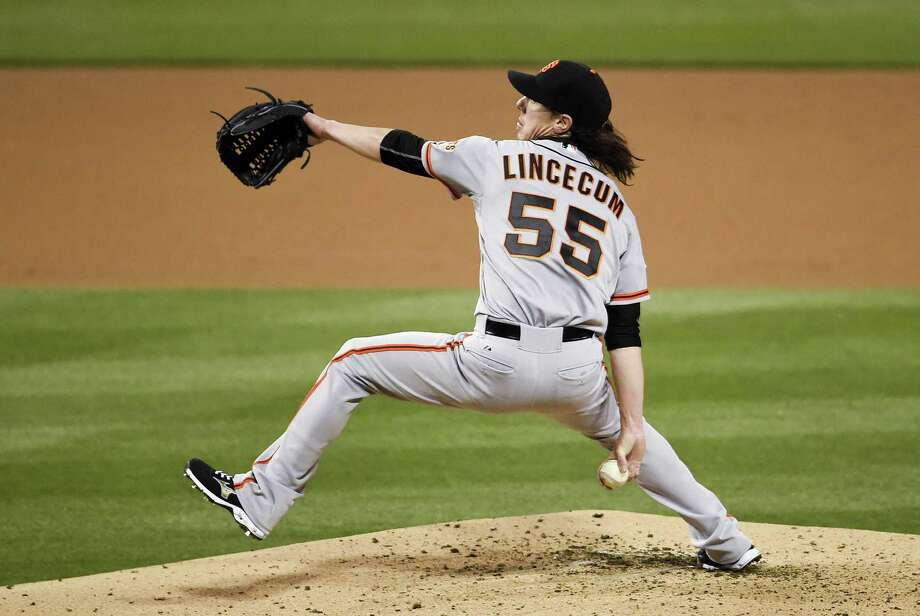 SAN DIEGO, CA - APRIL 10:  Tim Lincecum #55 of the San Francisco Giants pitches during the second inning against the San Diego Padres at Petco Park April 10, 2015 in San Diego, California.  (Photo by Denis Poroy/Getty Images) Photo: Denis Poroy / Getty Images / 2015 Getty Images