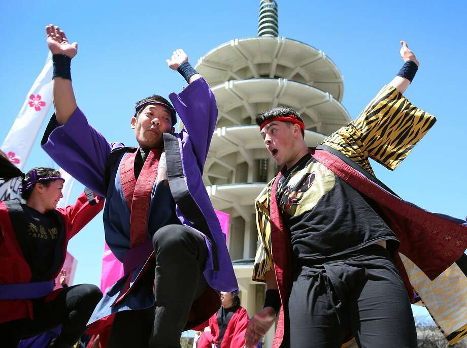 San Francisco Taiko Dojo performs at the base of the Peace Plaza tower during the 48th annual Cherry Blossom Festival in Japantown. Photo: Paul Chinn, The Chronicle