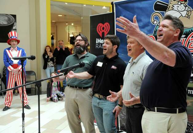 The Massive Dynamics, left to right, Jordan White, Jason White, Dave White and Mark Thomas takes part in the Tri-City ValleyCats 5th Annual National Anthem tryouts at Crossgates Mall on Saturday April 11, 2015 in Guilderland , N.Y. The top performance will have the opportunity to perform the National Anthem at a premium fireworks night at Joseph L. Bruno Stadium, in front of an average of 5,000 fans. (Michael P. Farrell/Times Union) Photo: Michael P. Farrell / 00031172A