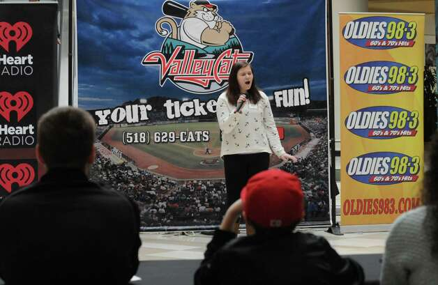 Madison Wung of Middleburgh takes part in the Tri-City ValleyCats 5th Annual National Anthem tryouts at Crossgates Mall on Saturday April 11, 2015 in Guilderland , N.Y. The top performance will have the opportunity to perform the National Anthem at a premium fireworks night at Joseph L. Bruno Stadium, in front of an average of 5,000 fans. (Michael P. Farrell/Times Union) Photo: Michael P. Farrell / 00031172A