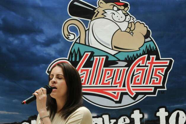 Erin Cannizzaro of Selkirk takes part in the Tri-City ValleyCats 5th Annual National Anthem tryouts at Crossgates Mall on Saturday April 11, 2015 in Guilderland , N.Y. The top performance will have the opportunity to perform the National Anthem at a premium fireworks night at Joseph L. Bruno Stadium, in front of an average of 5,000 fans. (Michael P. Farrell/Times Union) Photo: Michael P. Farrell / 00031172A